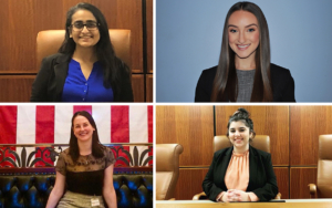 A quad collage of four female students.