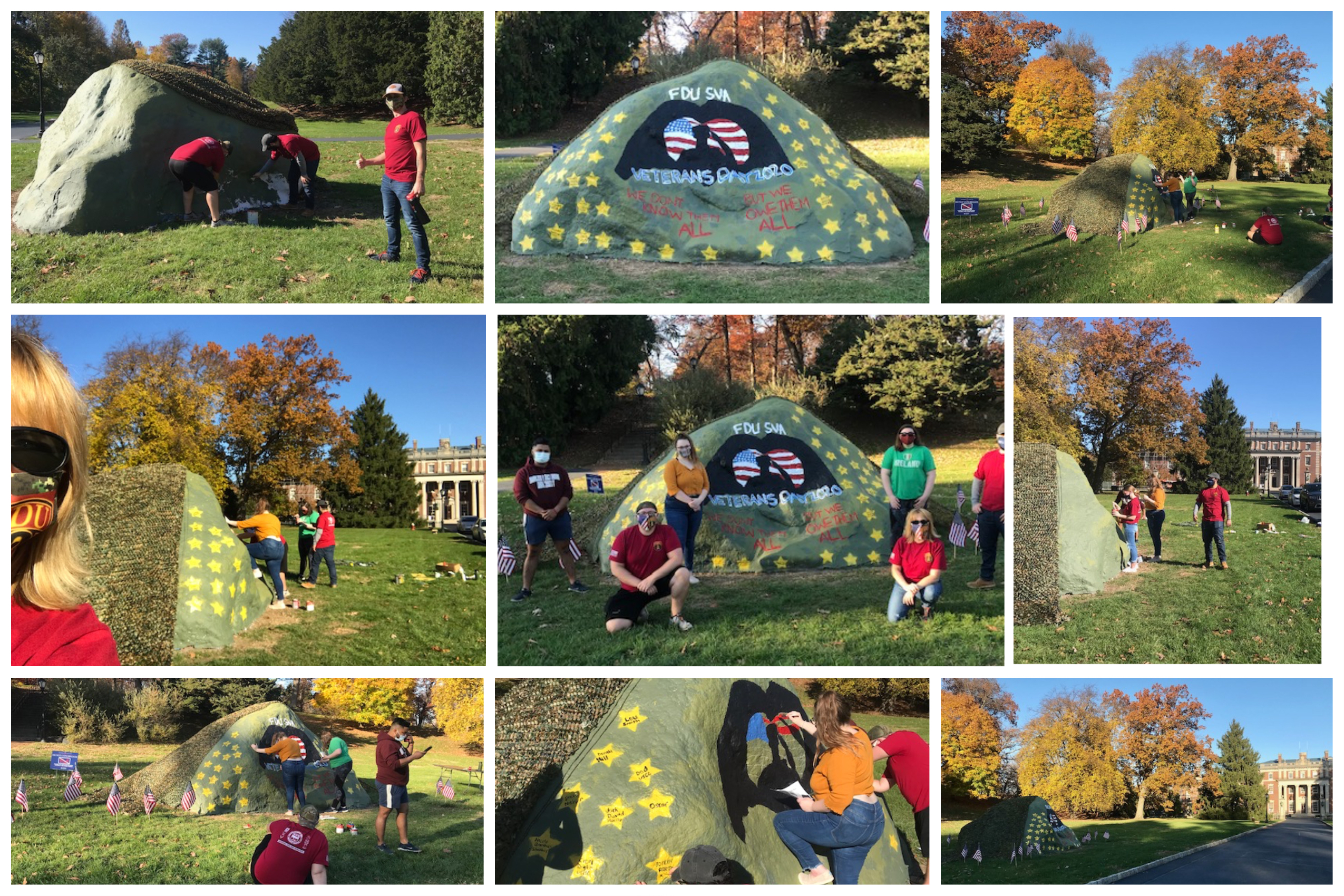 A photo collage feature student veterans painting Reuter's Rock in honor of Veterans Day.
