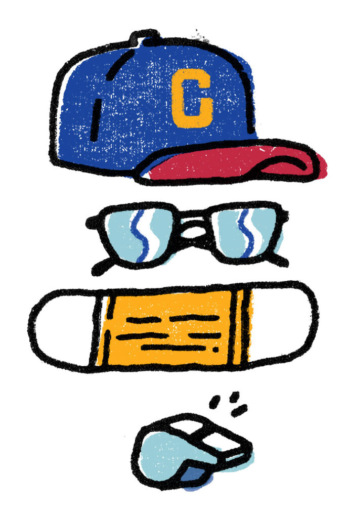 Illustration of a baseball cap, sunglasses, face mask and whistle.