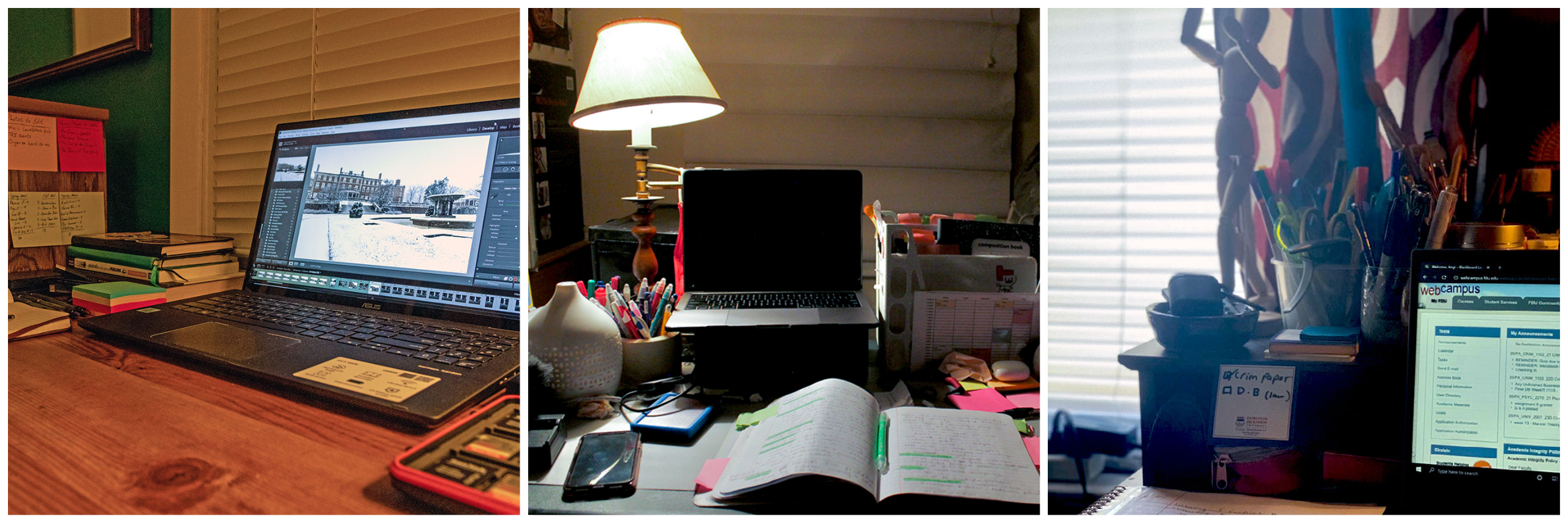 A trio of photos showing messy student desks, strewn with notebooks, laptops and other study materials.