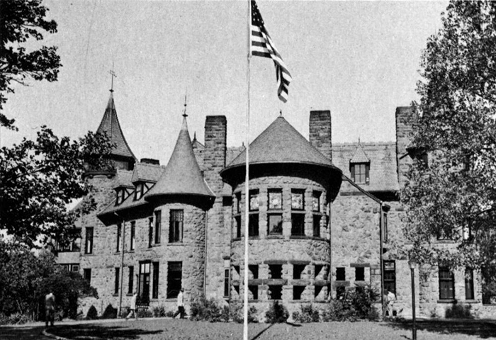 A black and white photos of the castle on the Rutherford Campus.