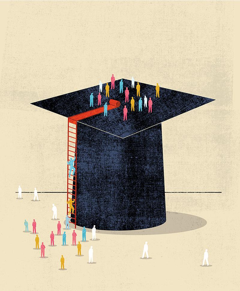 People climbing a graduation cap, illustration