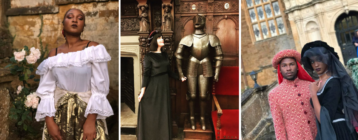 A collage of three photos show students dressed in medieval costumes for a banquet.