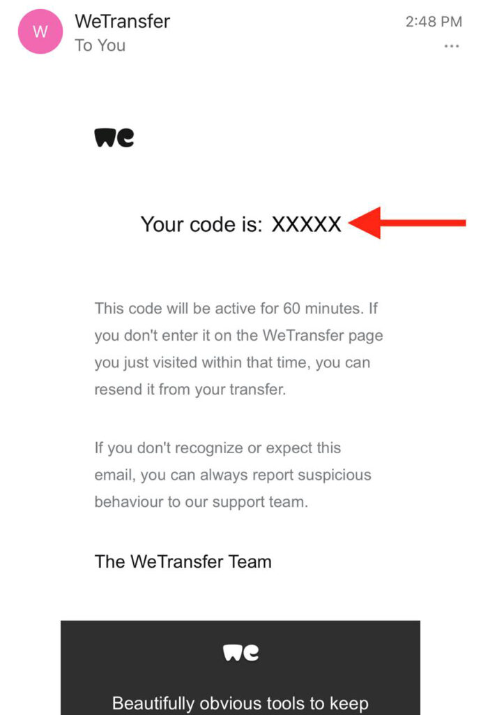 """Screenshot. A red arrow points to """"Your code is XXXXX"""""""