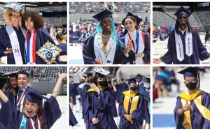 A collage of six photos shows smiling graduates.