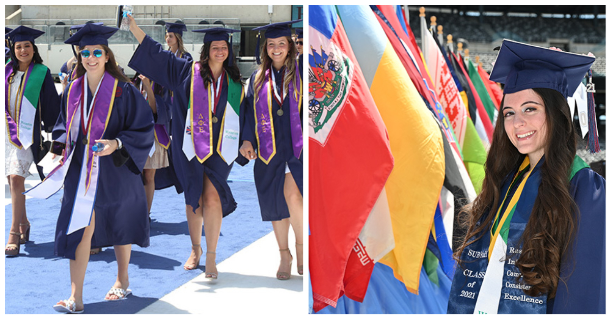 A duo of two photos shows happy graduates.