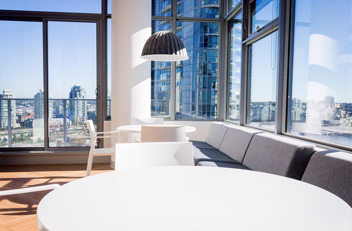 A study area with views of the Vancouver skyline.