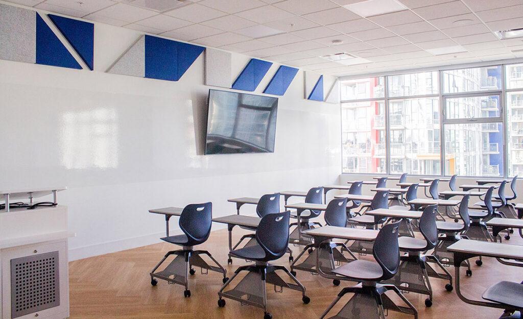 A modern and sunlit classroom.