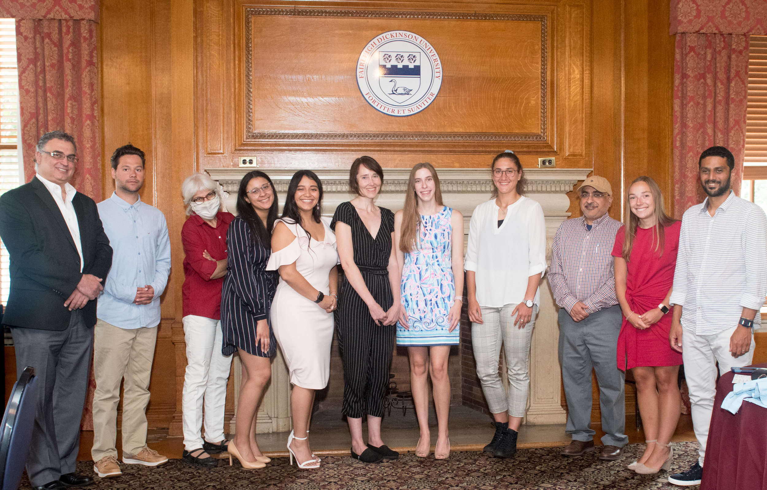 A group photo of students and mentors in the Becton College Novo Nordisk Summer Research Program.