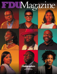 A grid of portrait photos on the cover of FDU Magazine.
