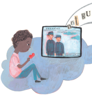 An illustration of a poem shows a young boy holding a popsicle and watching TV.