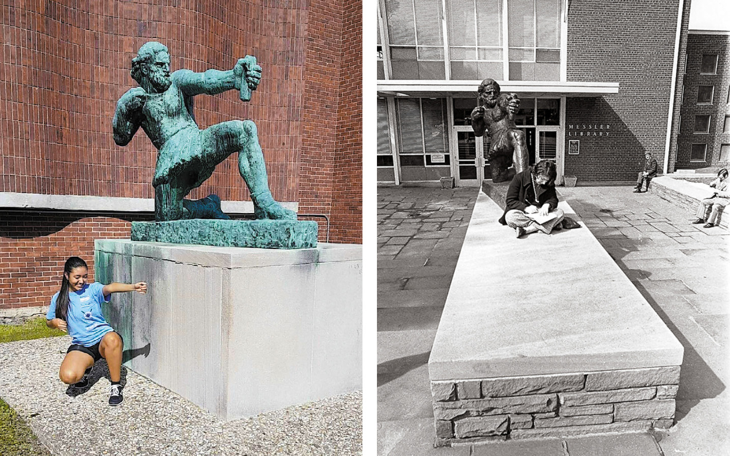 Two photos, side by side: on the left, a young woman mimics the pose of the Ulysses statue, arching back. On the right, a young woman sits reading in front of the Ulysses statue.