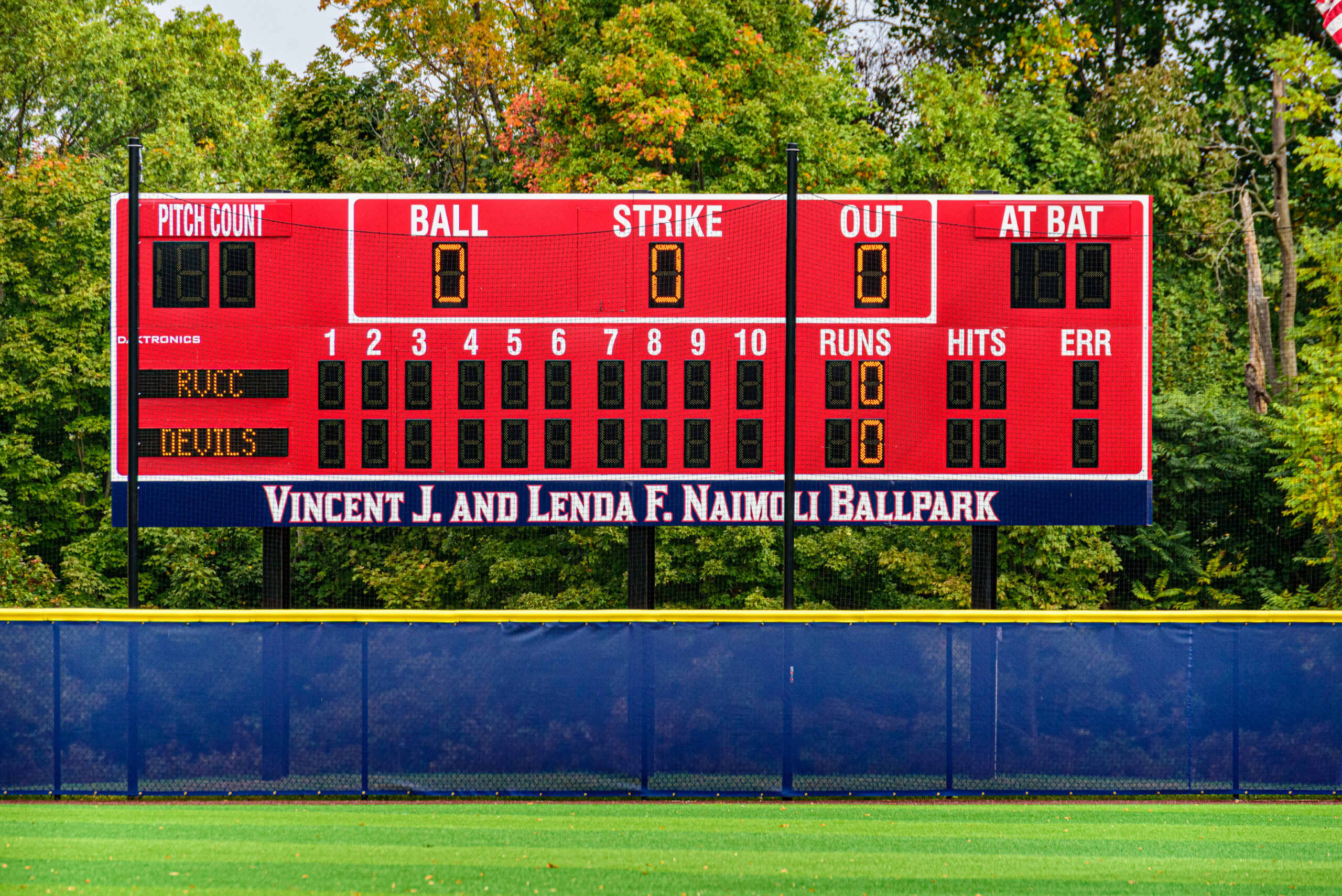 The scoreboard at the Vincent J. and Lenda F. Naimoli Ballpark.